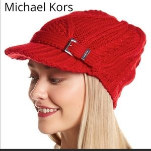 NWT MICHAEL KORS RED CABLE KNIT NEWSBOY HAT CAP